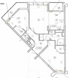 Перепланировка трехкомнатной квартиры - Химки мкр Подрезково ул. Центральная д. 4 корп 1 - 1 - план после перепланировки