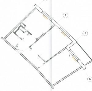 Перепланировка двухкомнатной квартиры Химки ул. Молодежная 21 - план до перепланировки